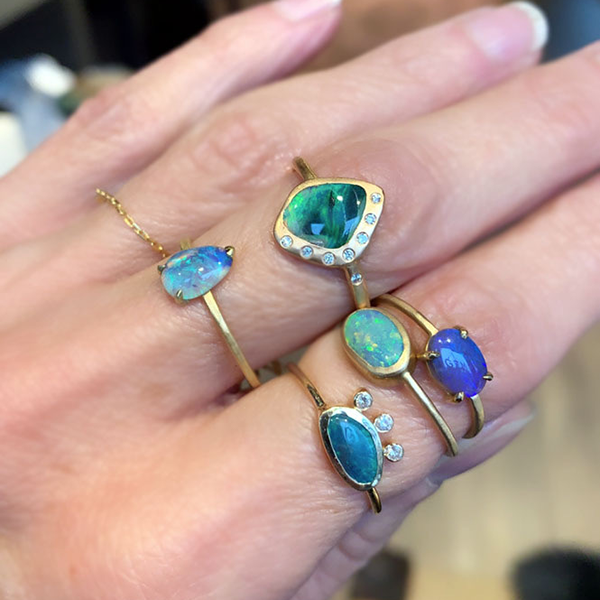 Petite Baleine Australian Opal Rings at Gem Jewelry Boutique