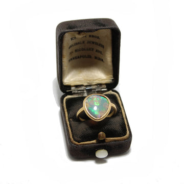 Petite Baleine 18k Gold Opal Ring with rare Chinese writing pattern