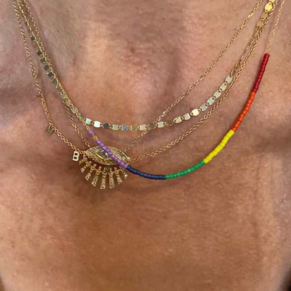 Petite Baleine 14k Rainbow Microbead Necklace modeled on a woman's neck