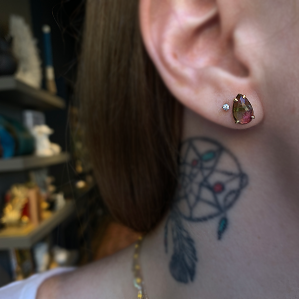 Petite Baleine 14k Watermelon Tourmaline Stud Earrings modeled on a woman's ear