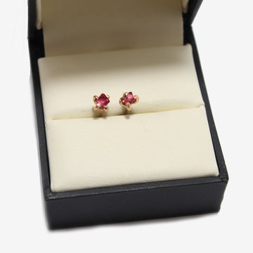Variance Objects 14k Rose Gold Pink Spinel Earrings in a jewelry box