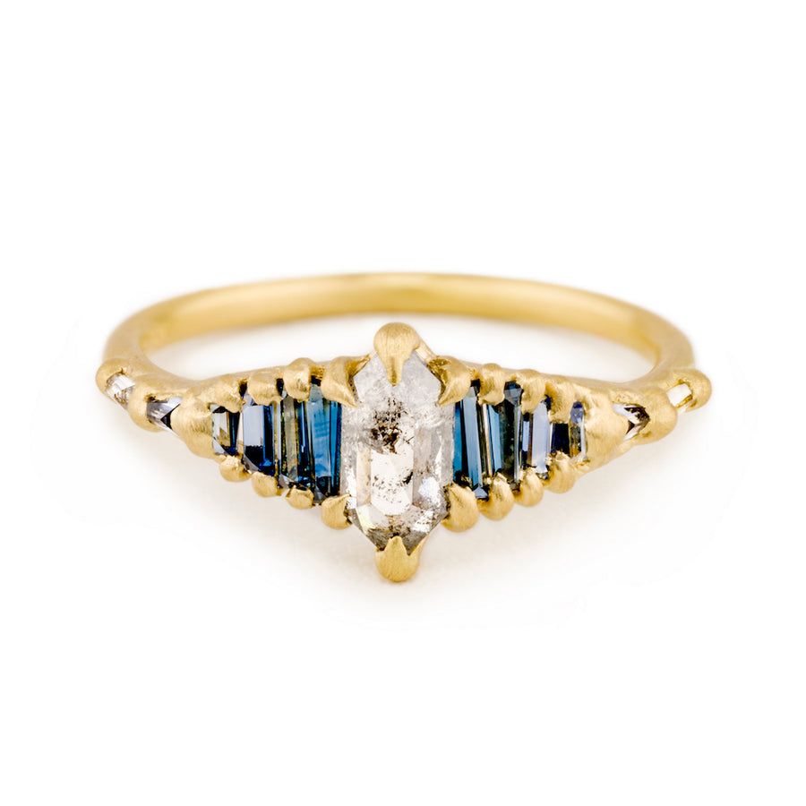 Polly Wales Hexagon Diamond + Sapphire Shard Ring