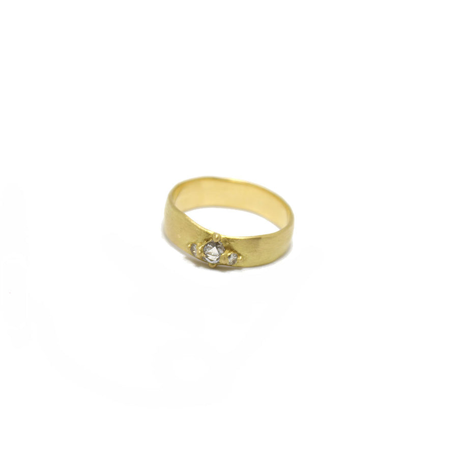 Polly Wales 18k gold Wide Pinched Diamond Band