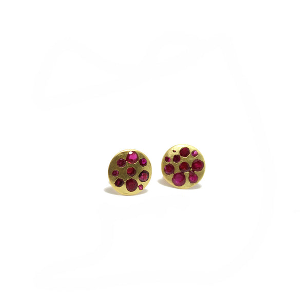 Polly Wales Celeste Crystal Disc Studs