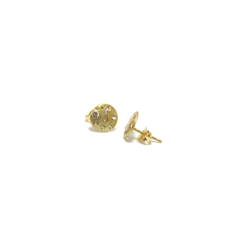 Polly Wales Celeste Crystal Sapphire Disc Studs