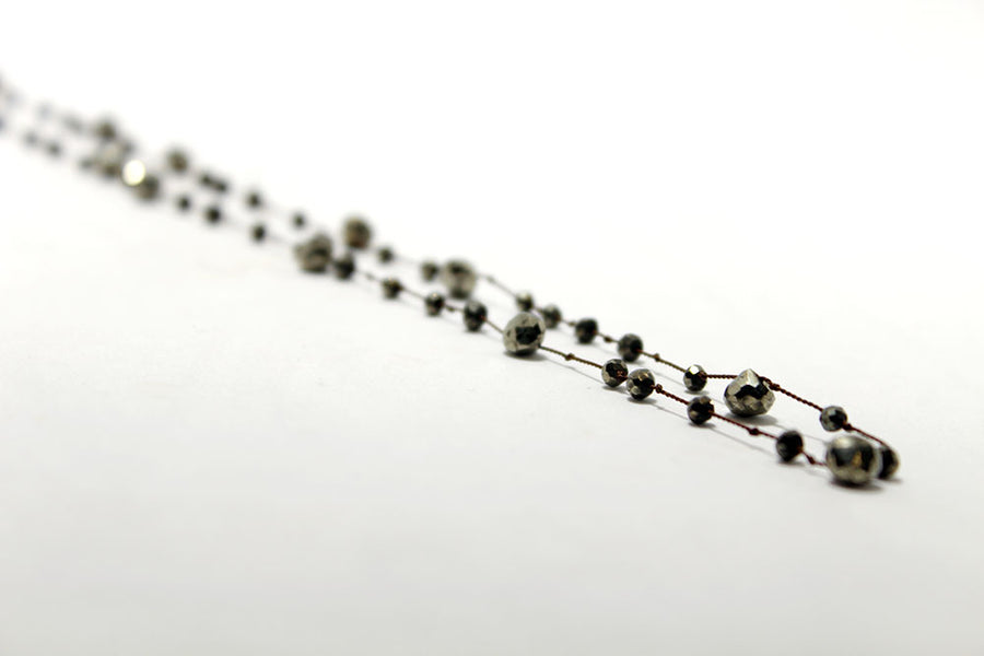 Pyrite hand-knotted on brown silk necklace