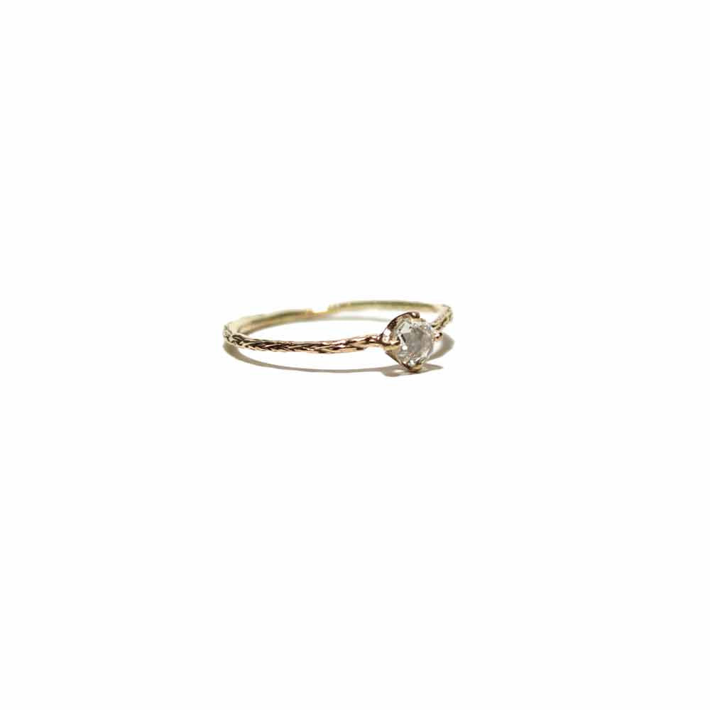 Rusty Thought Solitaire Rose Cut Diamond Ring