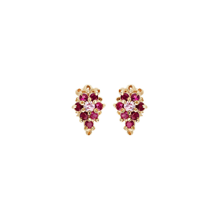 Ruta Reifen 14k Ruby + Sapphire Cluster Earrings