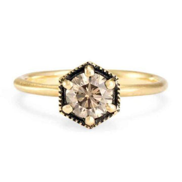 Satomi Kawakita Brown Diamond Hexagon Ring .75ct