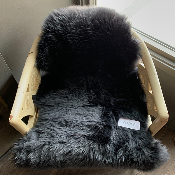 Black Sheepskin Chair Cover