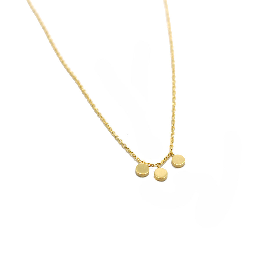 Tashi Brushed Gold Discs Necklace