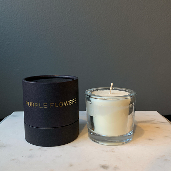 Tatine Purple Flowers Votive Candle