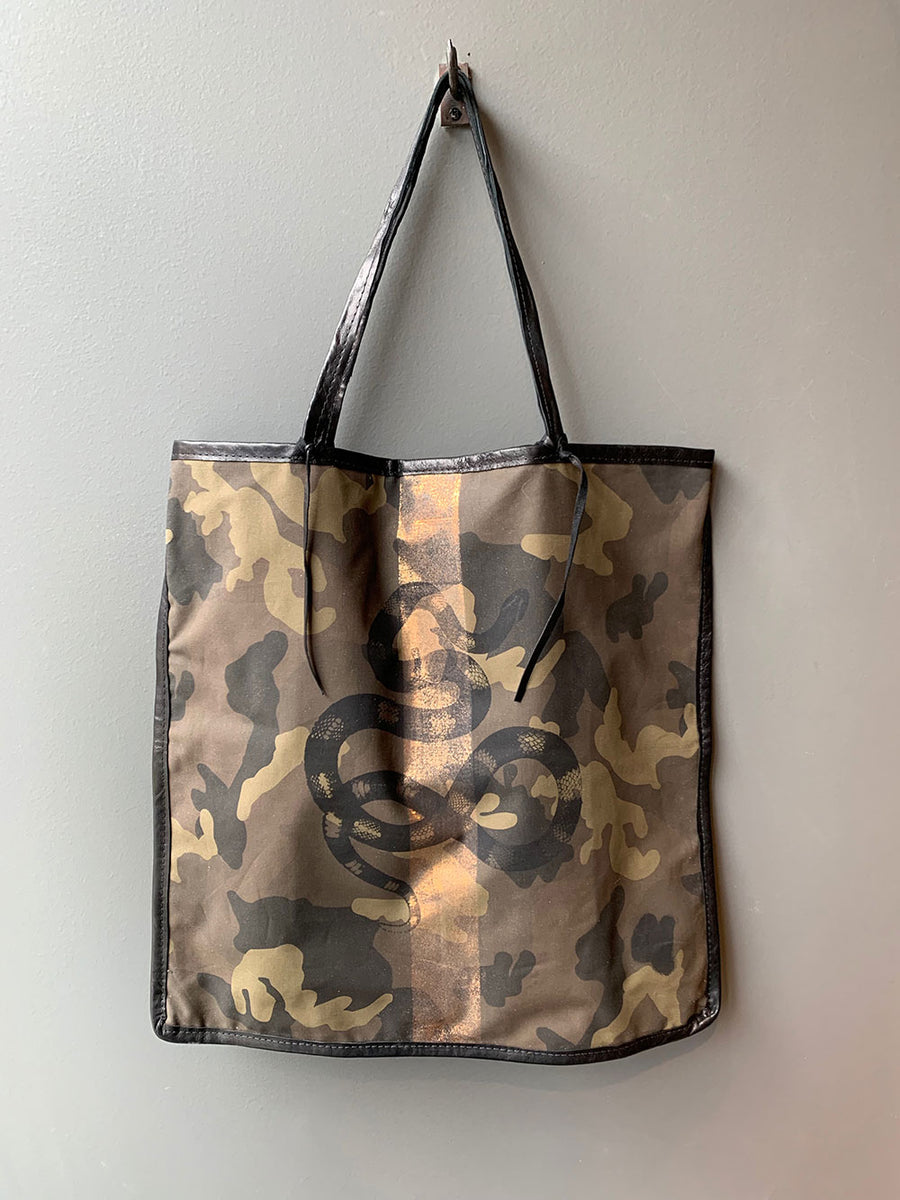 TOTeM Salvaged Large Camo Snake Tote
