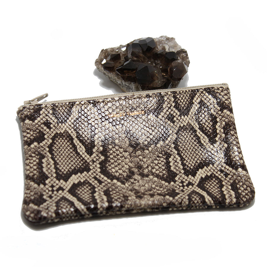 Tracey Tanner Small Flat Zip Pouch - Oatmeal Snake