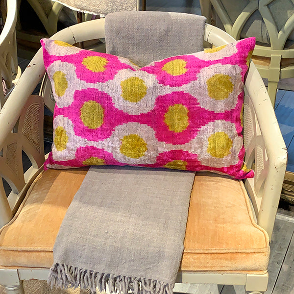 Turkish Silk Bolster Pillow- Pink + Yellow