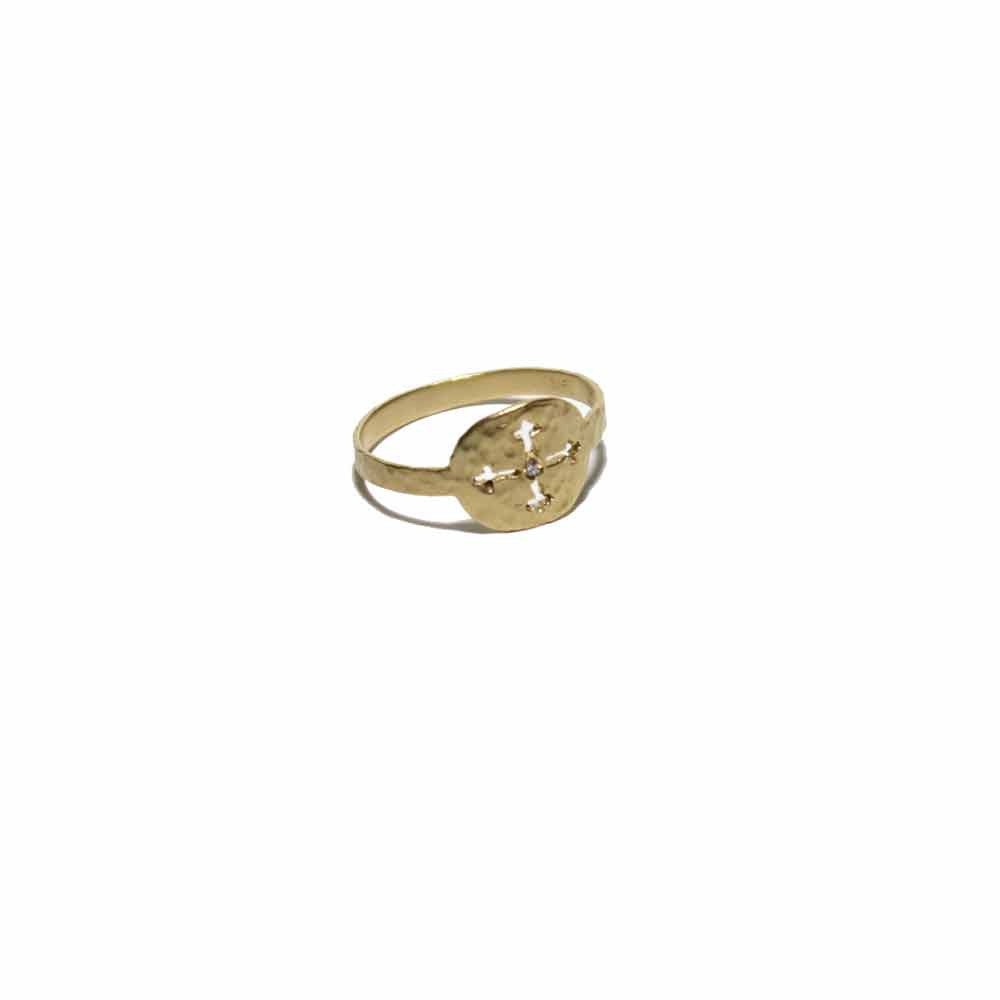 Victoria Cunningham Gold Cross Ring