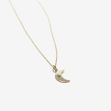 Workhorse 14k gold demi crescent moon with turquoise necklace