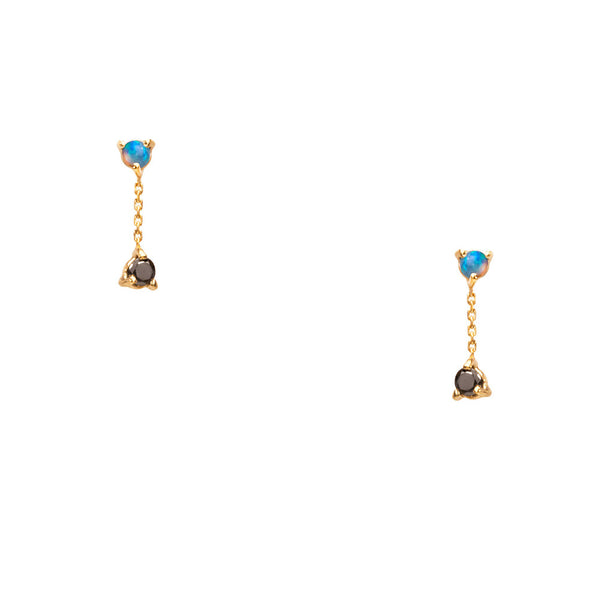 Wwake 2-Step Opal + Black Diamond Chain Earrings