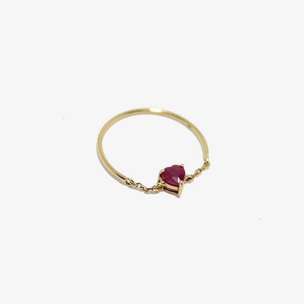Yi Collection Ruby Heart Half Chain Ring