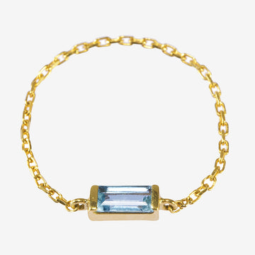 Yi Collection Aquamarine Chain Ring