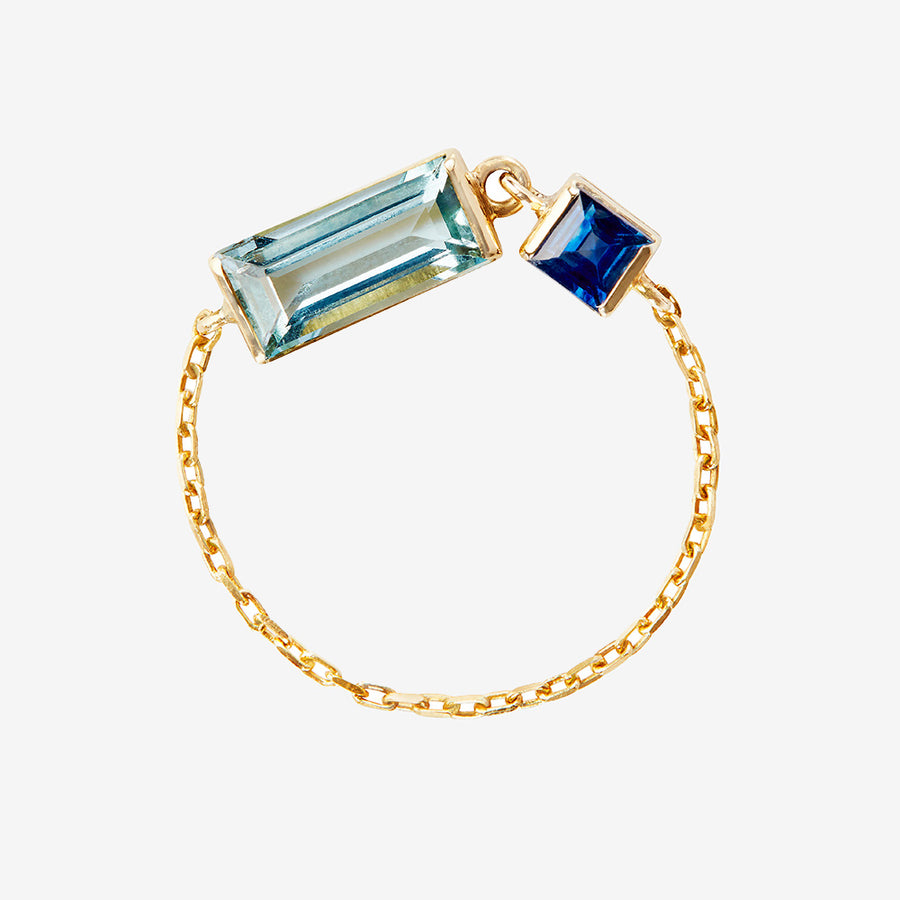 Yi Collection Aquamarine + Sapphire Chain Ring