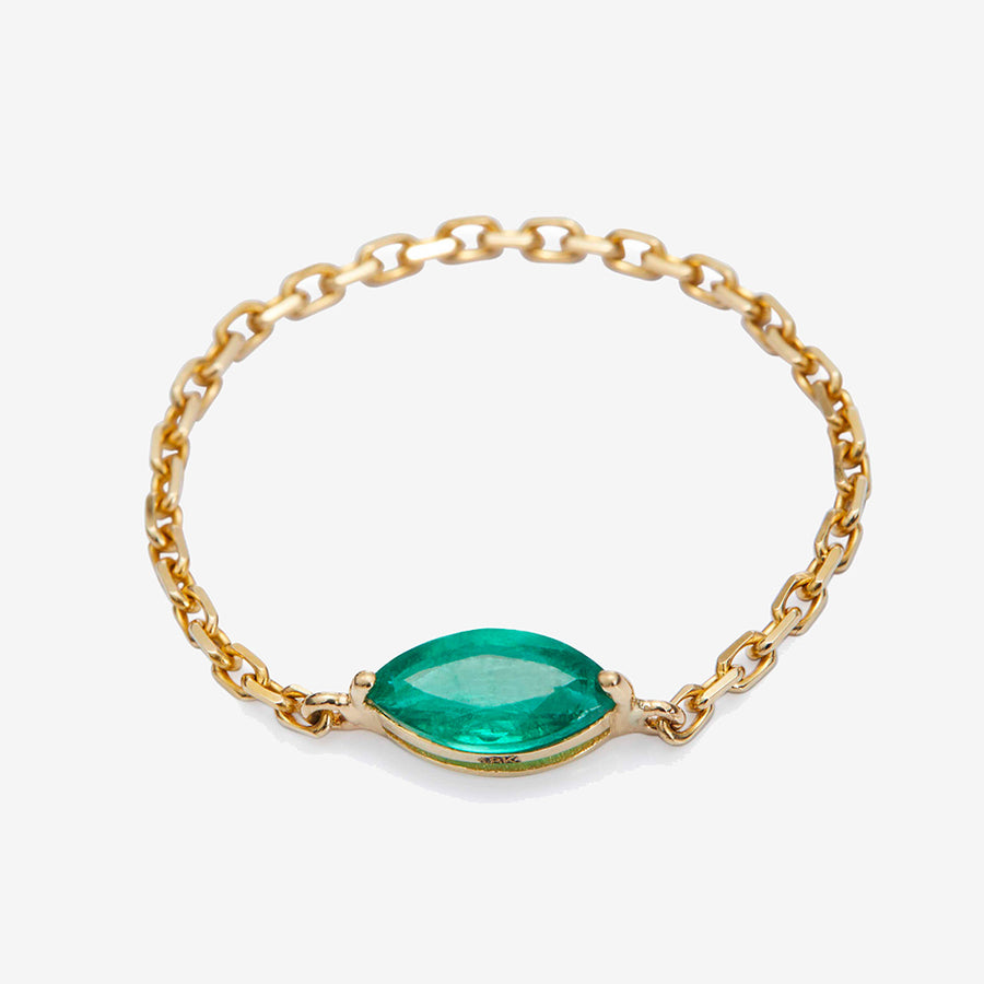 Yi Collection Emerald Marquise Chain Ring