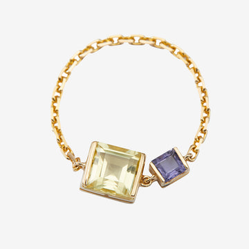 Yi Collection Lemon Quartz + Tanzanite Chain Ring