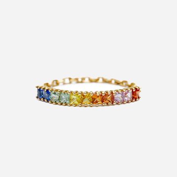 Yi Collection Sapphire Rainbow Bar Chain Ring