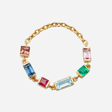 Yi Collection Rainbow Gemstone Chain Ring