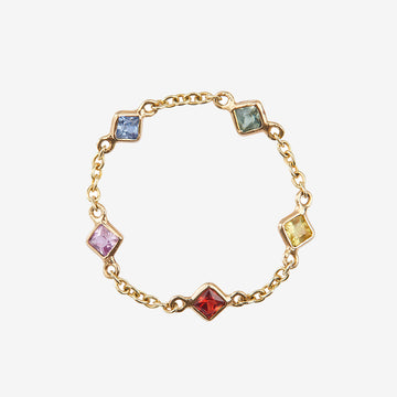 Yi Collection Sapphire Rainbow 5 Stone Chain Ring