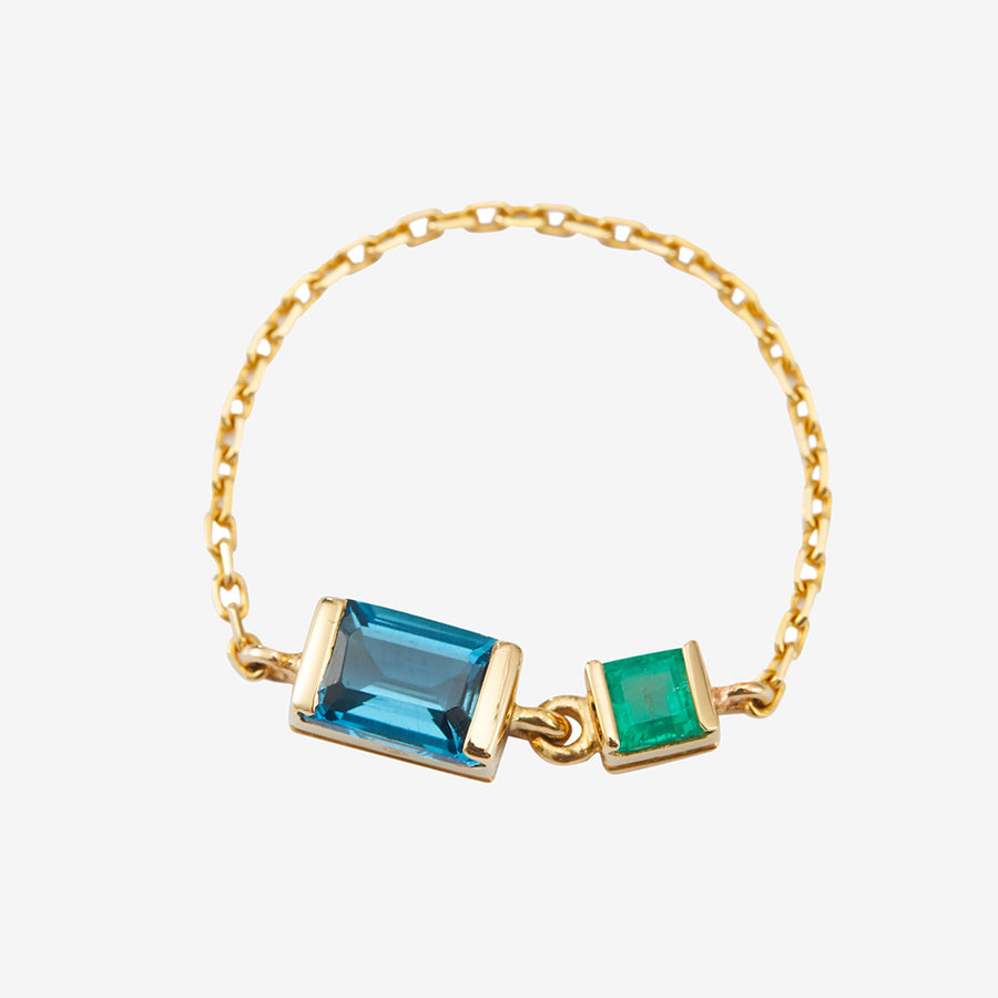 Yi Collection Topaz + Emerald Chain Ring