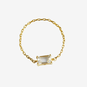 Yi Collection White Topaz Chain Ring