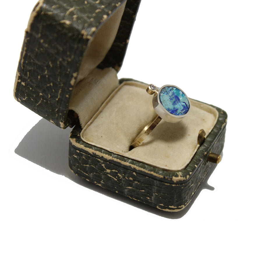 Young in the Mountains Geo Circle Azurite Ring