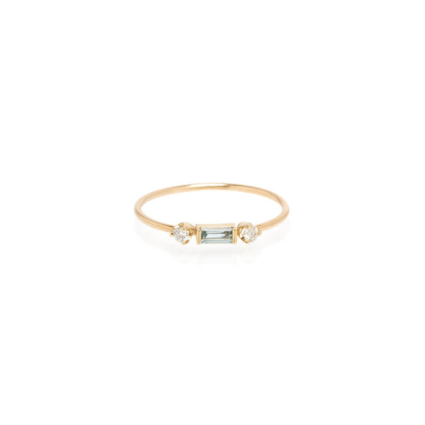 Zoe Chicco Aquamarine + Diamond Stacking Ring