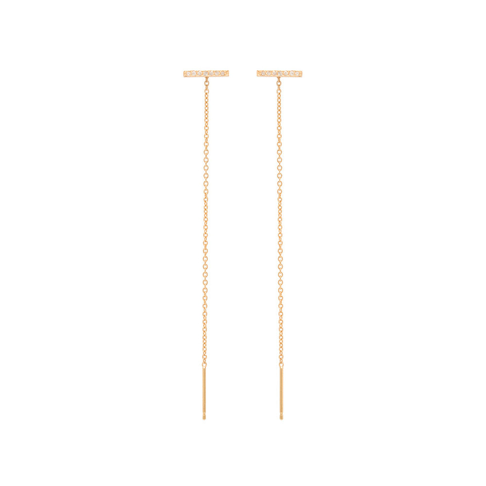 Zoe Chicco 14k Pave Bar Threader Earrings