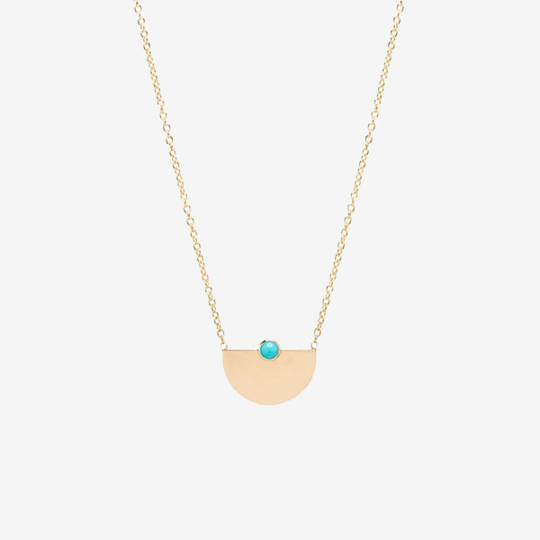 Zoe Chicco 14k Gold Small Horizon + Turquoise Necklace