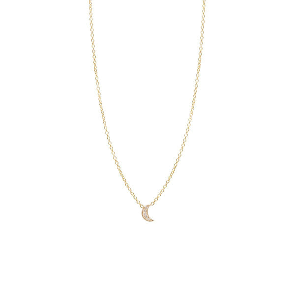 Zoe Chicco 14k Diamond Moon Necklace