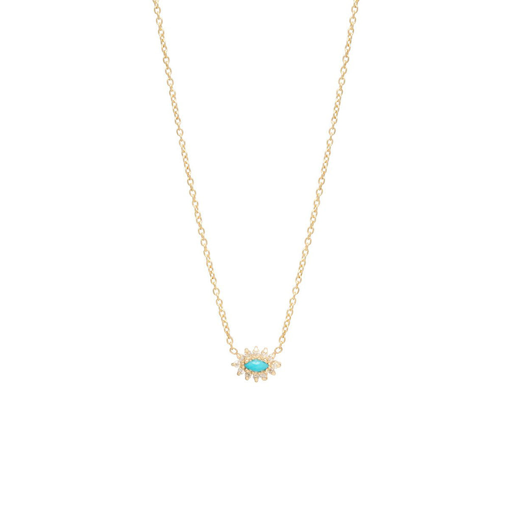 Zoe Chicco 14k Turquoise + Diamond Necklace