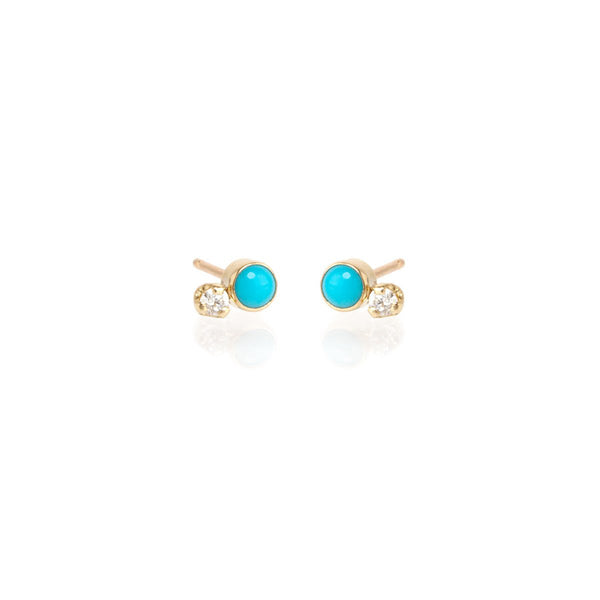 Zoe Chicco 14k Turquoise + Diamond Stud Earrings