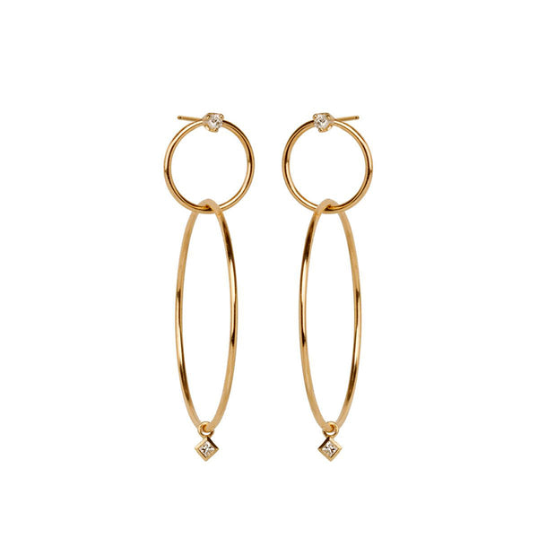 Zoe Chicco Double Diamond Hoop Earrings