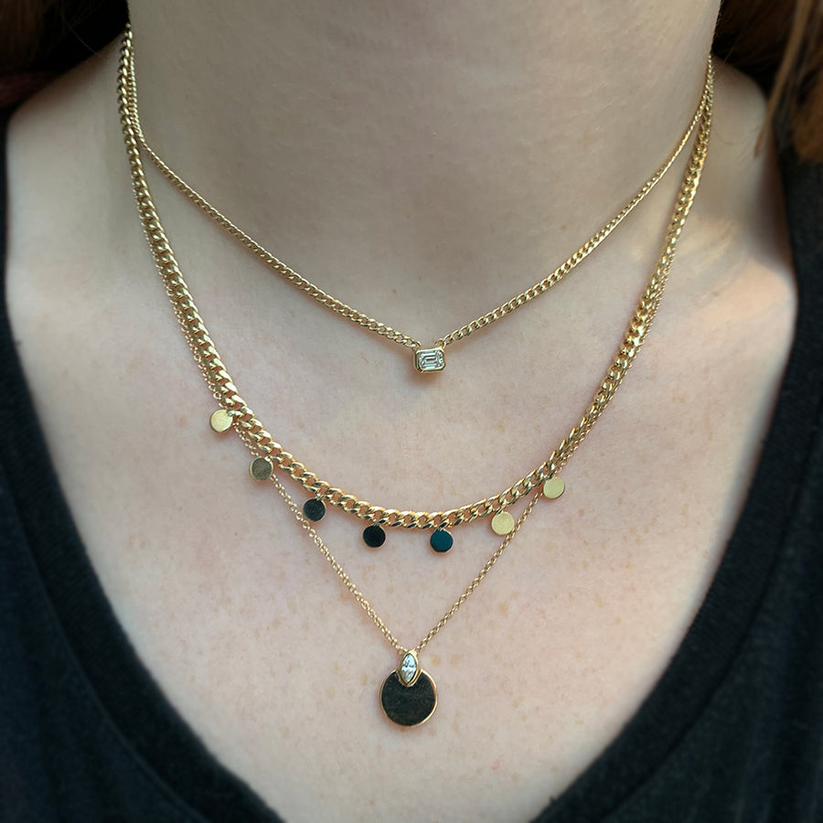 Zoe Chicco 14k Curb Chain + Diamond Necklace