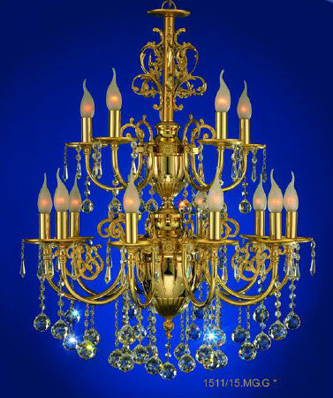 Gold plated chandeliers floba home goods gold plated chandelier 15bulb 2 levels mozeypictures Image collections