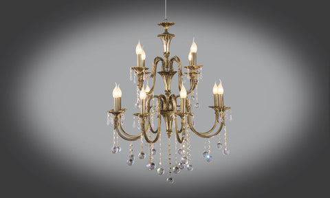 Gold plated chandeliers floba home goods gold plated chandelier 12 bulb 2 levels mozeypictures Image collections