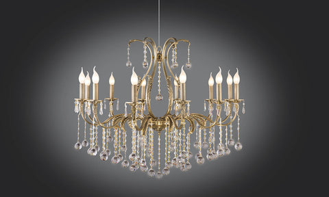 Gold plated chandeliers floba home goods gold plated chandelier 12 bulb decorated arms mozeypictures Image collections