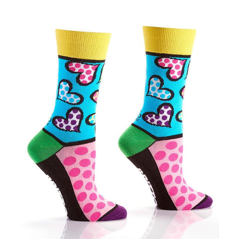 Spotted Hearts: Women's Crew Socks | Romero Britto Collection