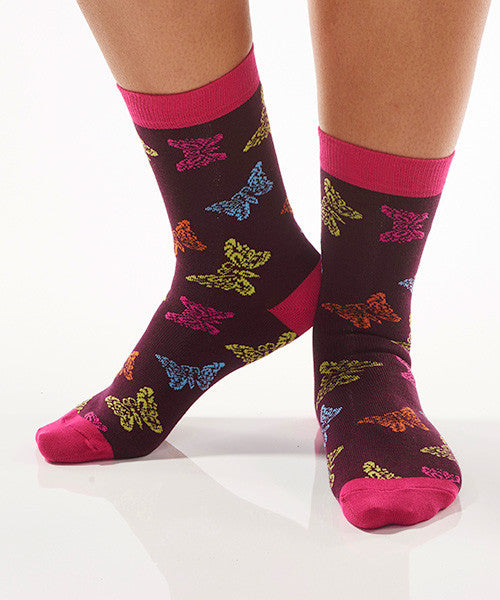 Multi-Color Butterfly Women's Crew Socks
