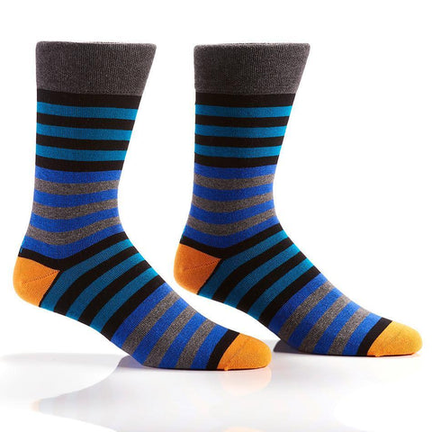 Blue & Orange Stripes: Men's Novelty Crew Socks