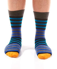 Blue & Orange Stripe Men's Crew Socks