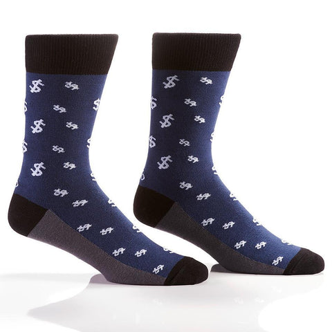 Dollar Signs (Blue): Men's Novelty Crew Socks