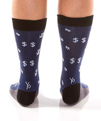 Dollar Signs (Blue): Men's Crew Socks